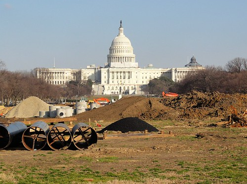 National Mall maintenance in front of the Capitol Building