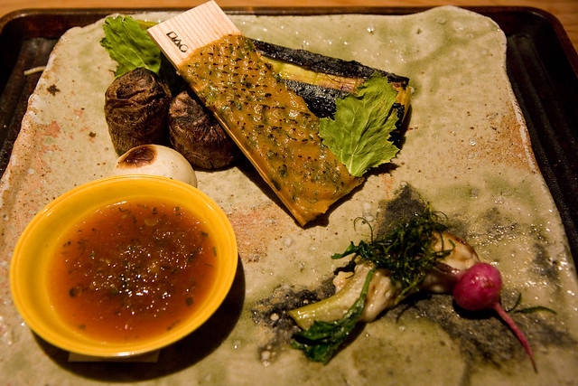 Grilled satoimo, leeks, and kabu turnip with grilled with ponzu, grilled miso, and grilled fennel with gomadofu, Kajitsu