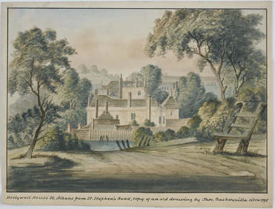 Hollywell-House_-St-Albans_-from-St-Stephens-Road_-copy-of-an-old-drawing-by-Thomas-Baskerville_-circa1795_1_museumimage
