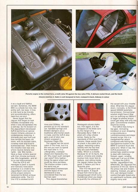 BMW 850i - Jaguar XJR-S V12 & Porsche 928 GTS Group Road Test 1992 (4 ...