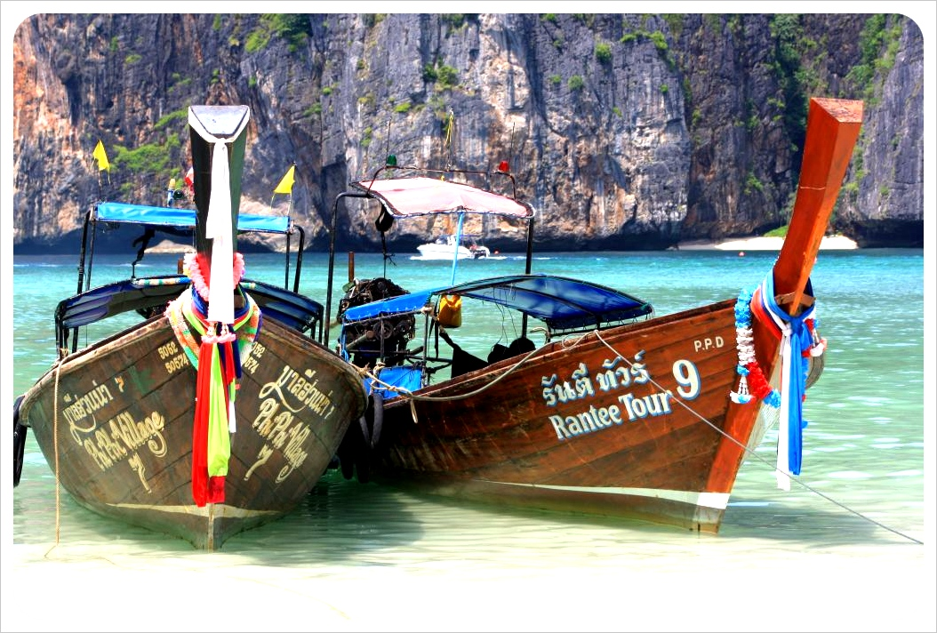 maya bay long tail boats