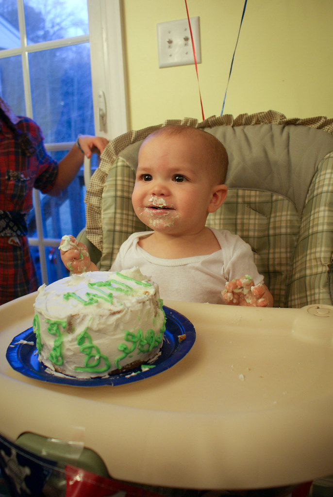 Will loved his first taste of cake!