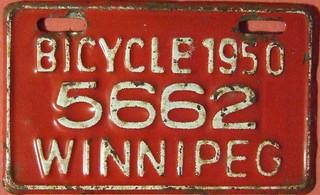 WINNIPEG MANITOBA 1950 ---BICYCLE LICENSE