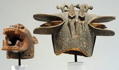 Teeth and tongue, African masks, animal sculptures, wood, paint and stain, displays, Seattle Art Museum, Seattle, Washington, USA