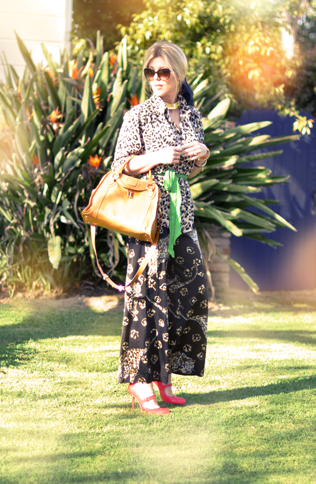 head to toe prints - Leopard on Leopard - pajama dressing, pajama outfit, marc jacobs-manolo blahnik shoes