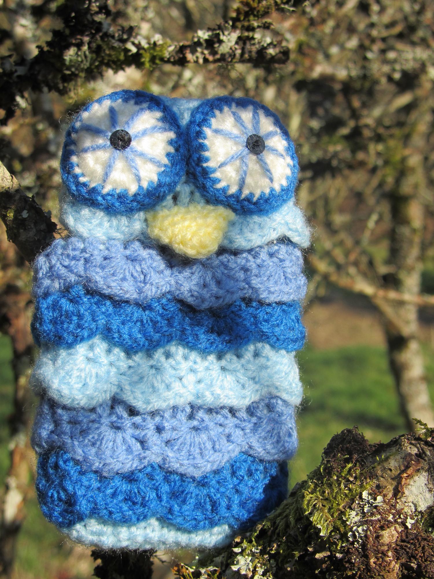 Blue Owl iphone case  - Hibou laine bleu étui téléphone