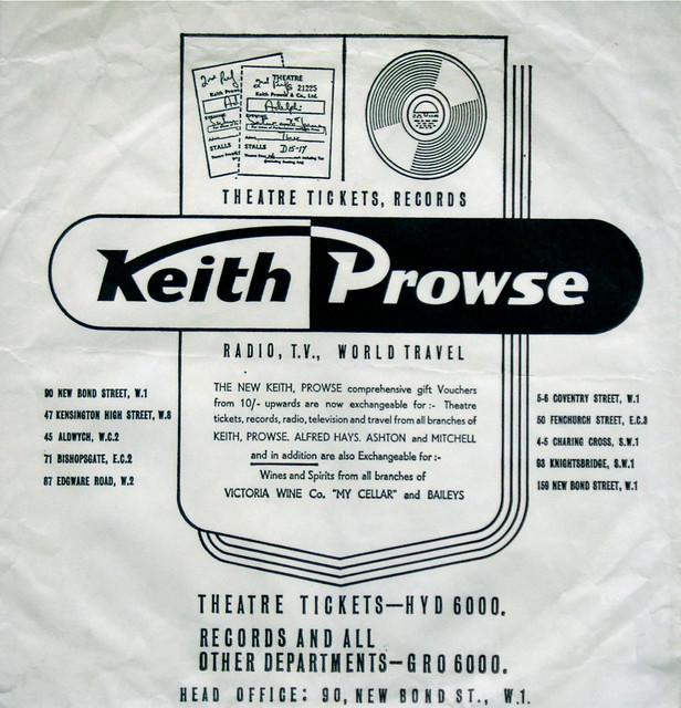Keith Prowse Music Store bag, for 45s (1960s)
