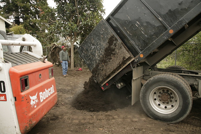 Dump truck with topsoil
