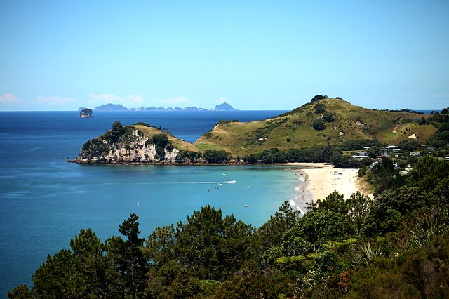 The Coromandel Peninsula lies in the North Island of New Zealand. It is part of the Waikato Region and Thames-Coromandel District and extends 85 kilometres north from the western end of the Bay of Plenty, forming a natural barrier to protect the Hauraki G