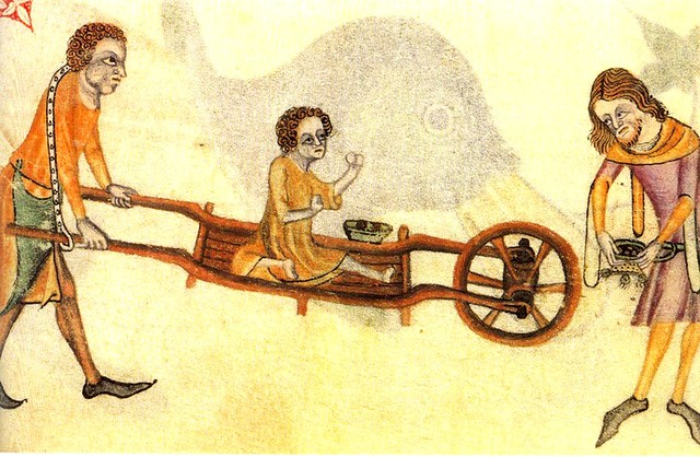 Luttrell Psalter. giving alms 14th cent. England