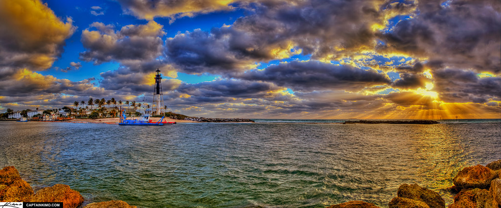 Hillsboro Lighthouse Sunrise Panorama from Pompano Beach Inlet Florida