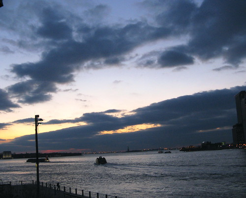 The New York Harbor In Twilight