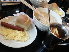 Usual breakfast in HK - mix between English and Chinese cultures