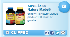 On Any (1) Nature Made Product 160 Count Or Greater Coupon
