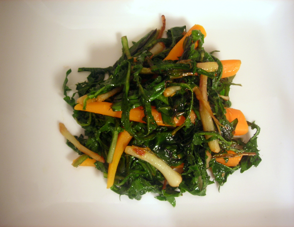 Dandelion greens, sautéed ramps and baby carrots
