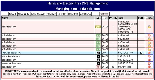 Hurricane Electric Free DNS Management