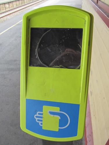 Vandalised Myki reader, Trafalgar station