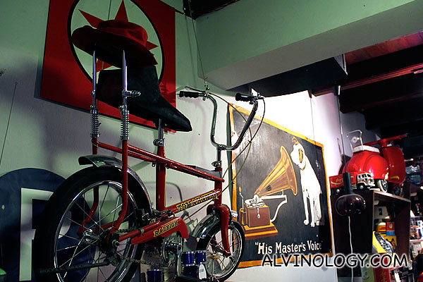 Old HMV poster, bicycle and more