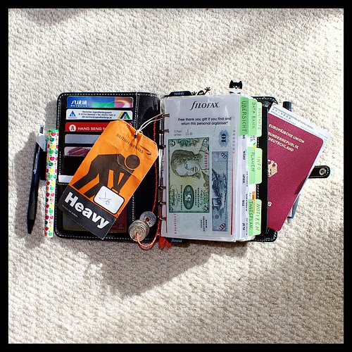 Overstuffed Filofax Ready for a Trip to Hong Kong