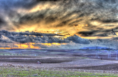 sunset wild sky orange tractor black field yellow clouds canon eos golden hour 1855 ef hdr 550d
