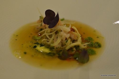 Arras - Marinated Noodles and shellfish consomme
