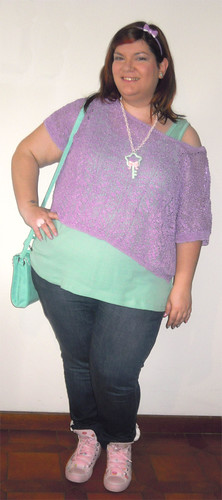 Lilac, mint and pink outfit