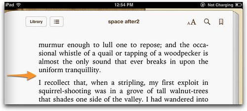 Space after in ereader