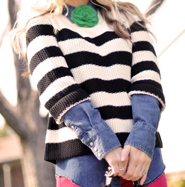 black and white striped sweater- denim-green flower