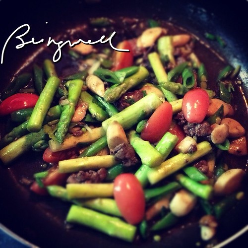 Cooking Asparagus and Beans with Chicken Liver