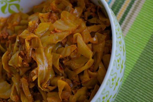 braised cabbage with chorizo