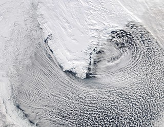 Cloud streets Around Southern Greenland