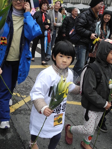 參與311反核遊行的小朋友,廖靜蕙拍攝