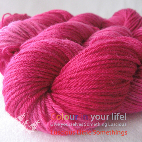 Evelyn's custom Pink Passion on Bluefaced DK
