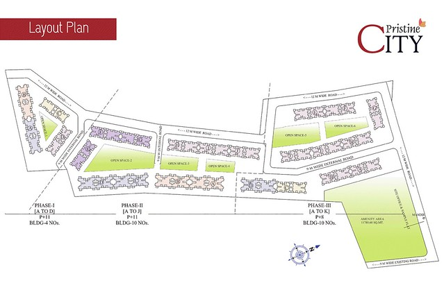 Pristine City, 1 BHK & 2 BHK Flats, opposite Weikfield Foods, Wagholi - Bakori, Pune 412207 - Layout Plan
