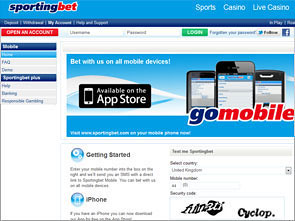 Sportingbet Sportsbook Mobile Lobby