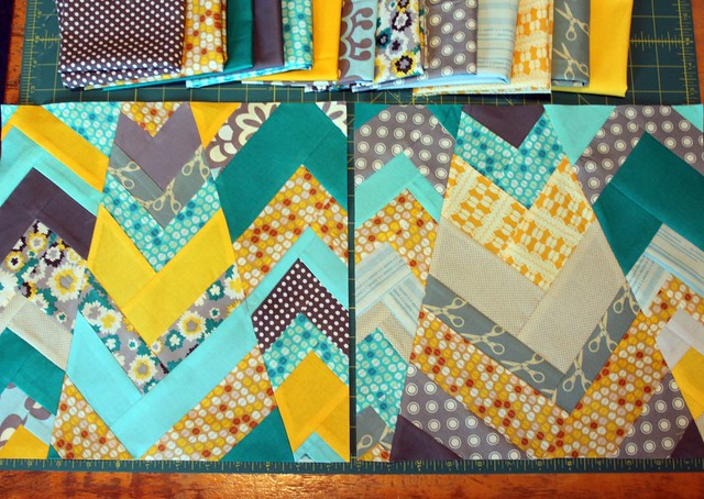 Improv Chevron Bee Blocks & stash pulls