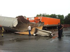 Tornado rips through truck yard