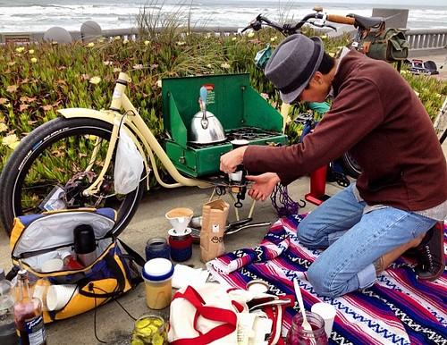 Cargo bike, Coleman camp stove #sundaystreets