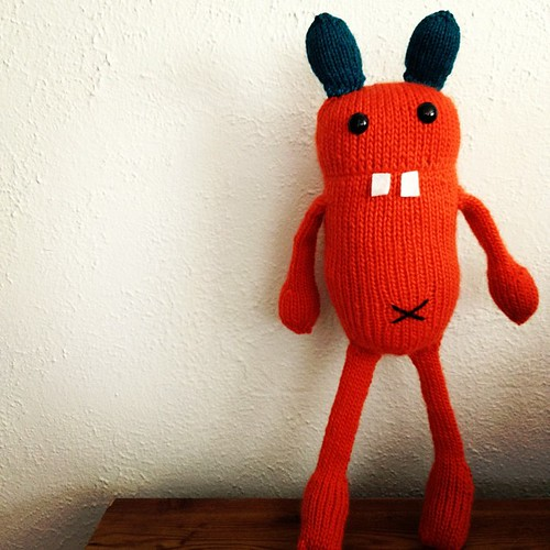 Meet Geet the Bunny! He's going to be auctioned at my friend's fundraiser party. #rabbit #bunny #knitting #monster