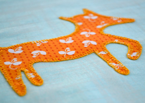 Fox applique - close up of blanket stitching
