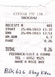 25 april, taxi receipt