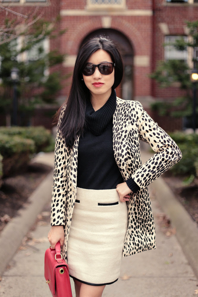 leopard coat red bag2