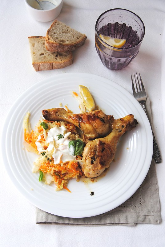 Yoghurt Roasted Chicken with Quinoa, Carrot and Fennel Slaw