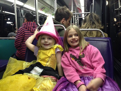 Bus home after a long day at Magic Kingdom!