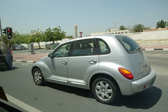 executive car(0.0), minivan(0.0), compact sport utility vehicle(0.0), automobile(1.0), automotive exterior(1.0), wheel(1.0), vehicle(1.0), chrysler pt cruiser(1.0), mid-size car(1.0), city car(1.0), chrysler(1.0), land vehicle(1.0),