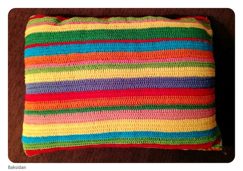 backside of scrap yarn pillow