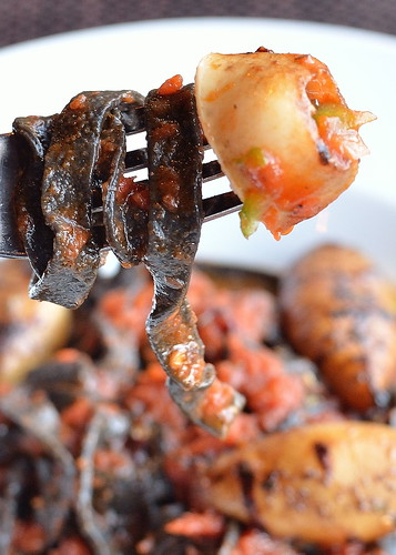 Grilled Squid and Squid Ink Pasta