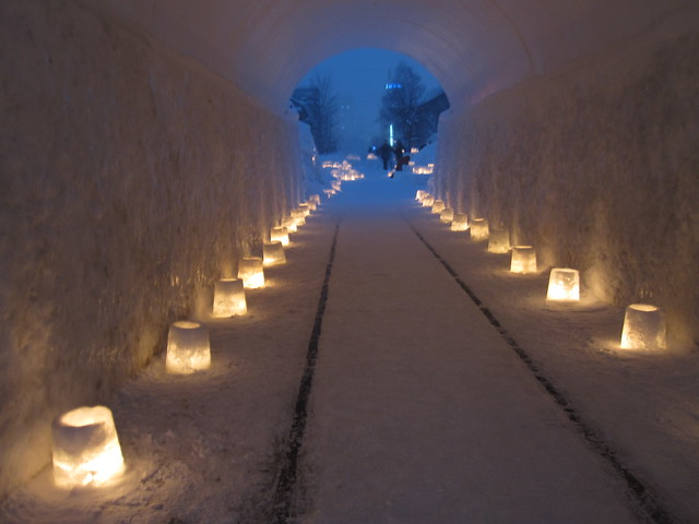 Illuminated snow tunnel