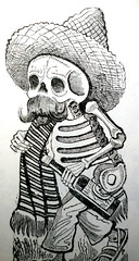 art, skeleton, monochrome photography, drawing, cartoon, monochrome, illustration, black-and-white,