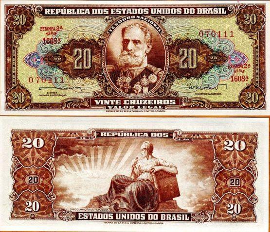 20 Cruzeiros Brazília 1962-3, Pick 178
